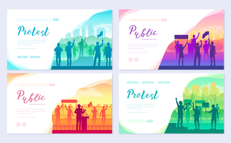 Men and women share protest. Crowd of protester brochure card set. Revolution, conflict template of flyear, web banner, ui header, enter site. Layout invintation modern