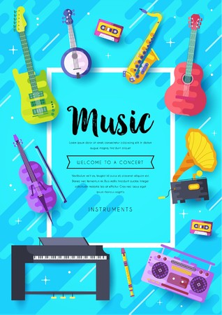 Music instruments  vector brochure cards set.  Audio tools template of flyear, magazines, poster, book cover, banners. Concert invitation concept background. Layout illustration modern page background Banque d'images - 117919052