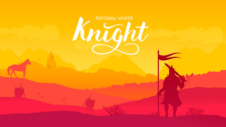 Silhouette historical battlefield at sunset design. Military silhouettes fighting scene on war landscape background. Medieval battle scattered arms and armor around the field.