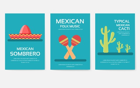 Set of Mexico country ornament travel tour concept. Asian traditional, magazine, book, poster, abstract, element. Vector decorative ethnic greeting card or invitation design  イラスト・ベクター素材