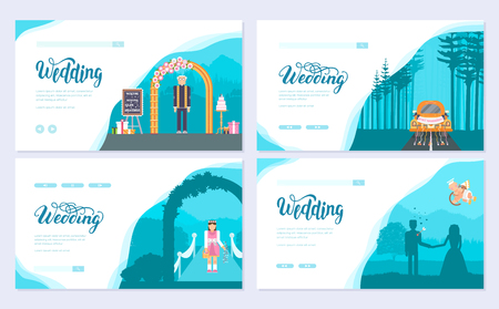 Wedding day brochure card set. Template of flyear, web banner, ui header, enter site. Layout invitation modern