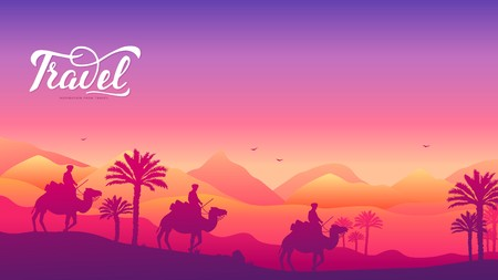 caravan of camels on background of the desert. Traditions of people in the Arab countries concept. Traveling in the desert on camels in the heat. Colorful landscape with travelers Standard-Bild - 124856516