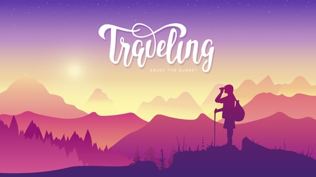 Tourist traveler with binoculars at sunset. Extreme hike in the wild illustration. Mountain view of nature vector.  mountaineering sport lifestyle concept. Active hiker enjoying the view