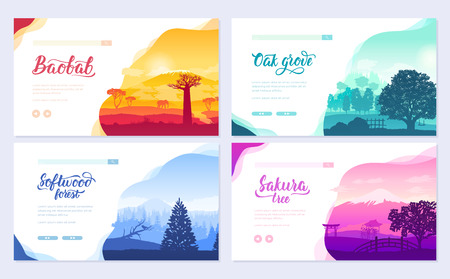 Types of trees from around the world. Beautiful parks from all over the planet. Colorful landscape forests trees. Set of ecology branch flyers design concept