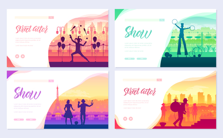 Street artists around the world brochure cards set. Speech on the alleys of the city template of flyear, web banner, ui header, enter site. Invitation concept background. Layout modern slider page