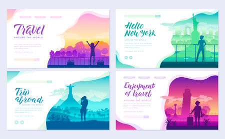 Tourists on the background of cities brochure cards set. Travel around the world template of flyer, magazines, poster, books, invitation banners. People on the background of attractions layout . Ilustração