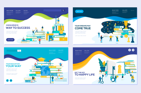 illustration of education, consulting, college, education app modern vector concepts. Set of web page design templates. Banners website and mobile website development