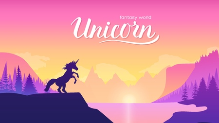 Unicorn on the mountainside near the lake concept. Creatures in fantasy worlds vector illustration design. Nature landscape backgroud