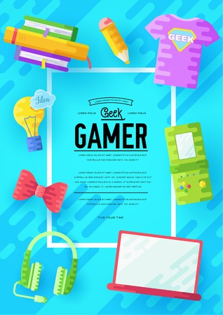 it geeks vector brochure cards set. office professional developer template of flyear, magazines, posters, book cover, banners. Layout workplace technology flat illustrations modern Stock Vector - 124856533