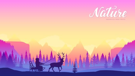 Local resident rides in sleigh riding reindeer design. Winter life of people at the North pole concept. sunset on the background of snowy mountains Vector Illustratie