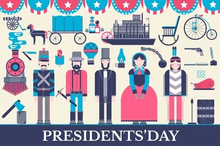 President Abraham Lincoln day with historical XIX (19) century elements flat icon set. Vector people and traditional of USA object illustrations cover concept design. National culture traditions