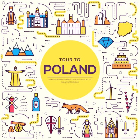 Country thin line Poland travel vacation guide of goods, places and features. Set of architecture, fashion, people, items, nature background concept. Outline template design on flat style