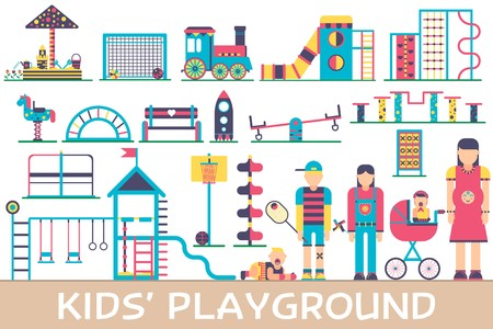 Kids playground field with many staff equipment background icons set. Vector flat fun outdoor park illustration concept design