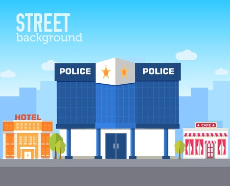 police building in city space with road on flat syle background concept. Vector illustration design