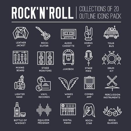 Premium kwaliteit ROCKNROLL overzicht iconen collectie set. Muziekapparatuur lineair symboolpakket. Moderne sjabloon van dunne lijn pictogrammen, logo, symbolen, pictogram en platte illustraties concept. Logo