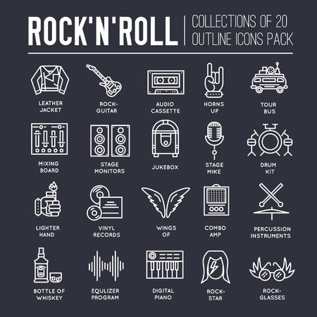 Premium quality ROCKNROLL outline icons collection set.  Music equipment linear symbol pack. Modern template of thin line icons, logo, symbols, pictogram and flat illustrations concept. Stock Illustratie