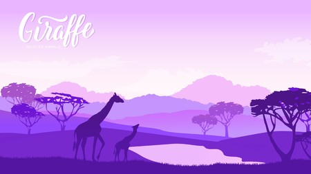 Giraffe with children goes to watering illustration. Wild animal against the background of nature africa concept. Wild animal in the savannah. Çizim