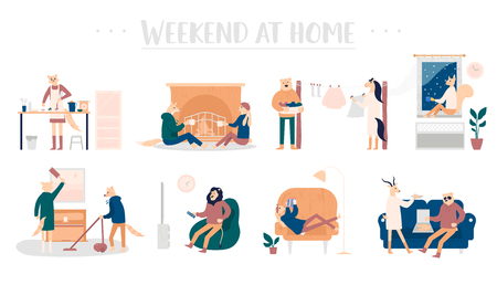 Set of young men and women spending weekend at home. Talk by the fireplace, cook together food, wash things, clean the apartment, watch TV, read a book and eat together pizza concepts 向量圖像