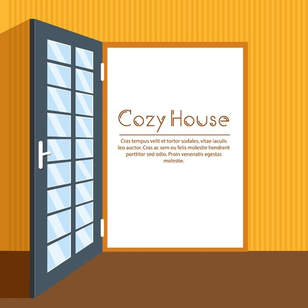 Door interior living room vector background card.