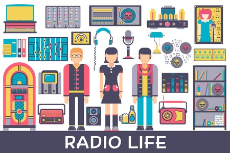 Radio life day collection icon set. Old school tv equpment and workspace in office with Dj presenter man and woman illustration. Vector media vintage technology in fm studio. Vectores