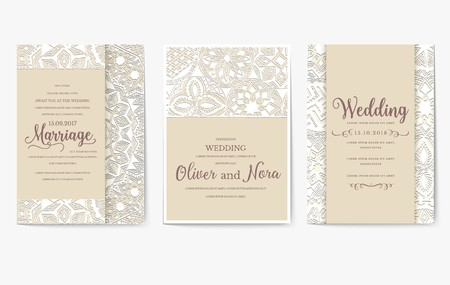 Set of white wedding flyer pages ornament illustration concept. Vintage art traditional, Islam, arabic, indian, ottoman motifs, elements. Vector decorative retro greeting card or invitation design. Çizim