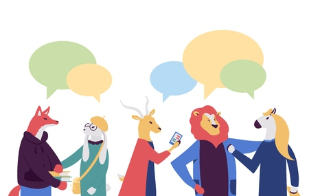 businessmen discuss social network vector illustration. News, social networks, chat, dialogue speech bubbles on flat style design.
