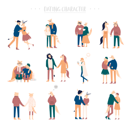 Flat cartoon happy romantic couples walking together on white background. Standing single lonely girl or pairs of men and women on date. Modern colorful vector Иллюстрация