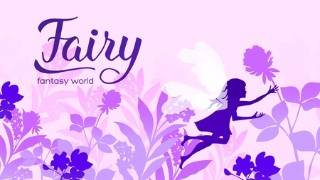 little fairy flies in the grass among the flowers concept. Creatures in fantasy worlds vector illustration design. Nature landscape