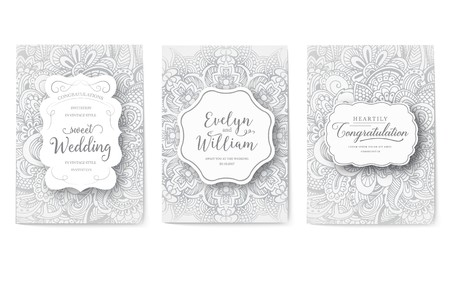 Set of wedding card flyer pages ornament illustration concept. Vintage art traditional, Islam, arabic, indian, ottoman motifs, elements. Vector decorative retro greeting card or invitation design