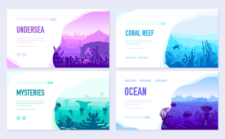 dedicated to undersea vector brochure cards set. Coral reef in the ocean template of flyear, web banner, ui header, enter site. Invitation concept background. Layout illustration modern slider Illustration