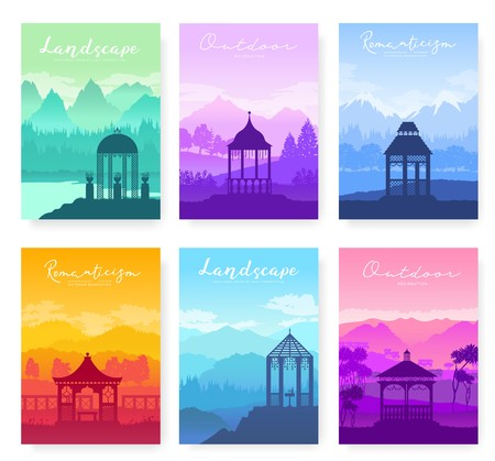Outdoor gazebo in nature landscape vector brochure cards set. Romantic place on sunrise template of flyer, magazines, poster, books, banners. lifestyle invitation concept. Layout modern Imagens - 124713721
