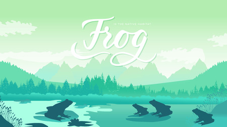frog sits on a leaf near the lake. Animals in their natural habitat. Vector illustration nature