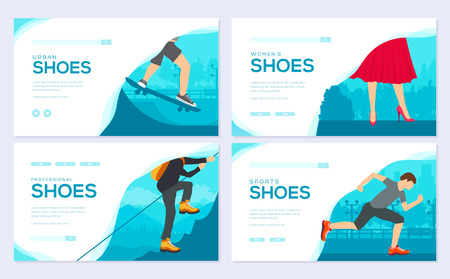 Shoe varieties brochure card set. wear classic, retro, trend, sport style template of flyear, web banner, ui header, enter site. Layout invintation modern