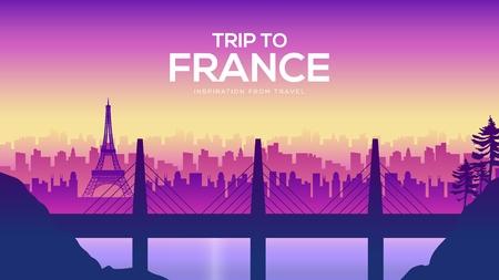Big France bridge on the landscape background of the city concept. Urban vector illustration