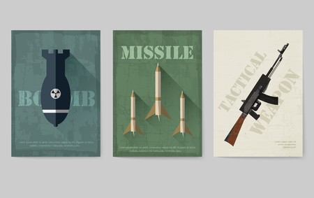 Cards of military equipment cards. Army template of flyear, Magazines, posters, book concept. Special forces items on grunge background. Layout illustrations pages with typography Ilustração
