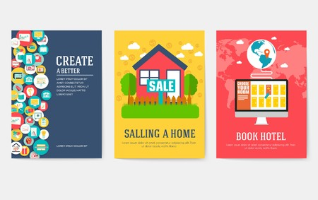 Business elements cards set. Marketing template of flyear, magazines, book cover, banners, booklet. idea infographic concept background. Layout illustrations modern pages with typography Illustration