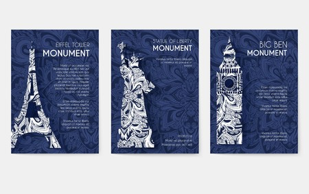 set of art ornamental travel and architecture on ethnic floral style flyers. Vector decorative banner of card or invitation design. Historical monuments of France, England, Italy, USA, Germany, Mexico
