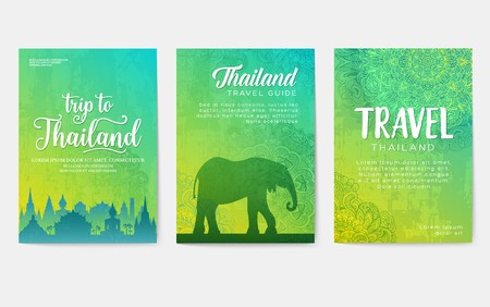 Traditional style brochure pages. Flyer for travel around the thai country. Architecture and animals of Thailand on invitation covers. Ethnic ornaments on an illustration