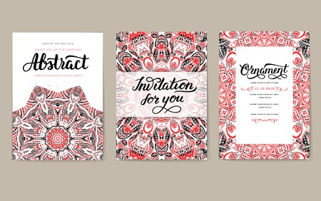 Universal flyer 3x4 with unique decoration. Invitation card for birthday, party or wedding. Traditional illustration design with typography for printing. Vertical festive postcard with invitation