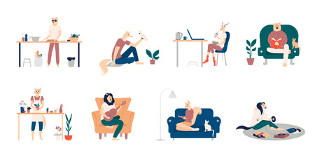 Bundle of young men and women spending weekend at home - playing guitar, eating sushi, reading books, surfing internet, listening to music, cooking. Colored vector illustration in flat cartoon 写真素材 - 124687665