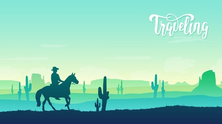 Cowboy riding a horse illustration concept. Horse rider in the background of the Texas desert. Wild West culture design. Sunset on the background of the American