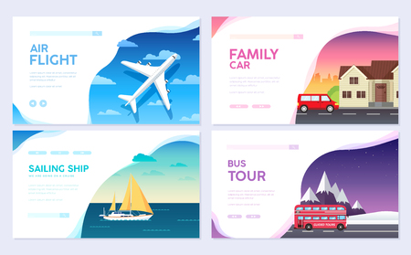 Variations transport of travel vacation tour guide infographic. Cruise, bus, flying on plane, car journey. Vector flyear, invitations, Magazines, cards, presentation, poster, banners set design Illustration