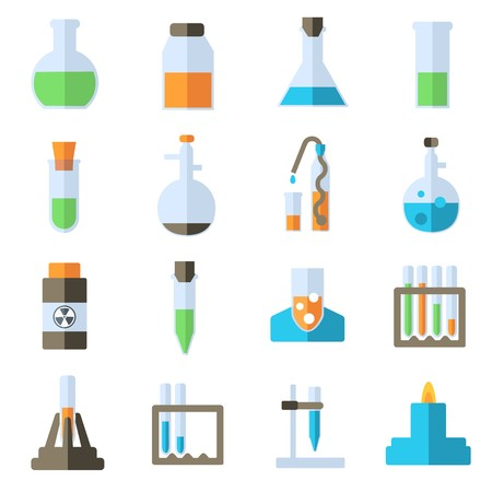 Flat experiments in a chemistry laboratory icons set concept. Vector illustration design. Stock Vector - 124611429