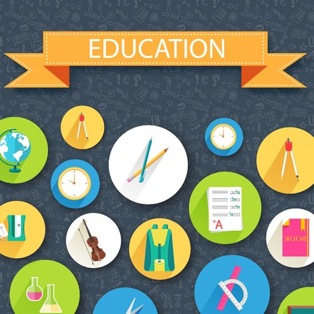 back to school abstract background of flat icons black concept. Vector illustration design.
