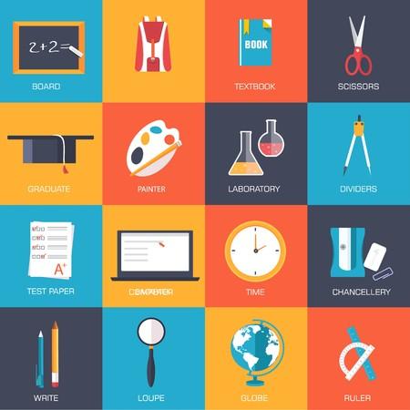 Back to school education vector art icons. Flat university elements set. Template palette symbols for your study design Illustration