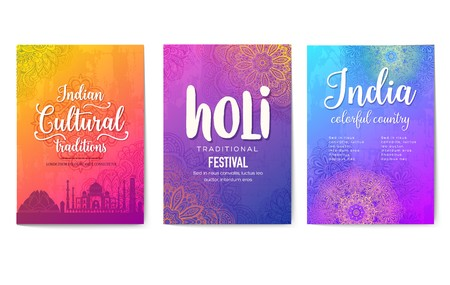 invitation design for the festive festival. Best colorful brochures with Indian ornament. Flyers with sights and animals of the country for printing. Traditional decorative ethnic greeting.