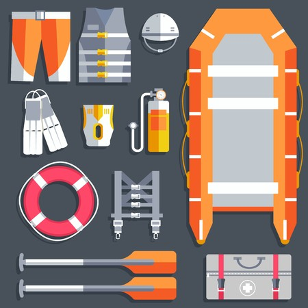 emergency service paramedic lifeguard equipment tools. On flat style background concept. Vector illustration for colorful template for you design, web and mobile applications . Фото со стока - 124611451