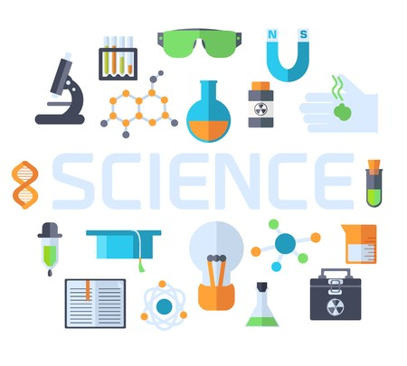 Retro experiments in a science chemistry laboratory icon concept. Vector illustration design template for web and mobile. Stock Vector - 124611455