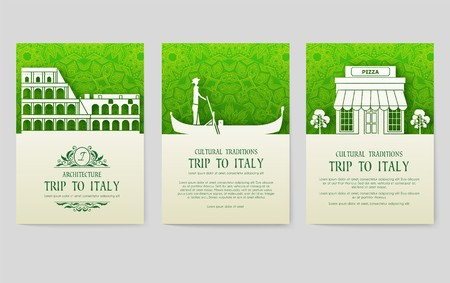 Set of Italy country ornament illustration concept. Art traditional, poster, book, abstract, ottoman motifs, element. Vector decorative ethnic greeting card or invitation design Ilustração