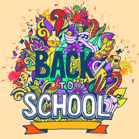 """Art abstract illustration with calligraphy text """"back to school"""" background. Vector elements design concept. Template for invintation card or notebook Ilustracje wektorowe"""